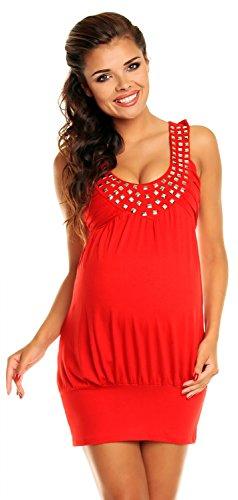 Zeta Ville - De Las Mujeres - Maternidad Burbuja Vestido Túnica Con Tachonado Escote - 024c Rojo