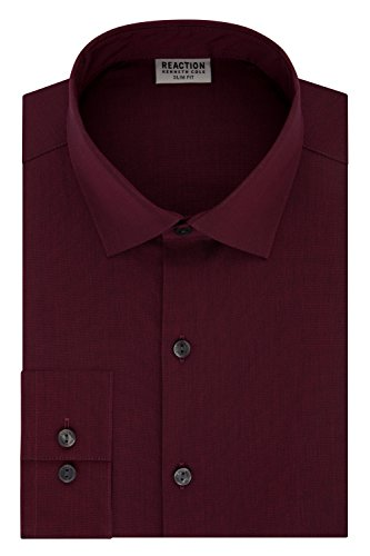 Mahogany Polyester Thread (Kenneth Cole Reaction Men's Technicole Slim Fit Solid Spread Collar Dress Shirt, Mahogany, 17