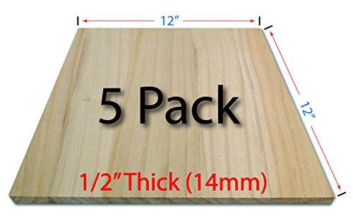 Wood Breaking Boards - 5 Pack - 1/2 Thick (14mm) - 12x12 - Paulownia Solid Wood - Karate - Taekwondo