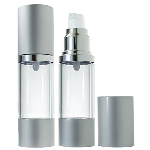 Airless Pump Bottle Refillable Container - 1 oz (2 Pack)