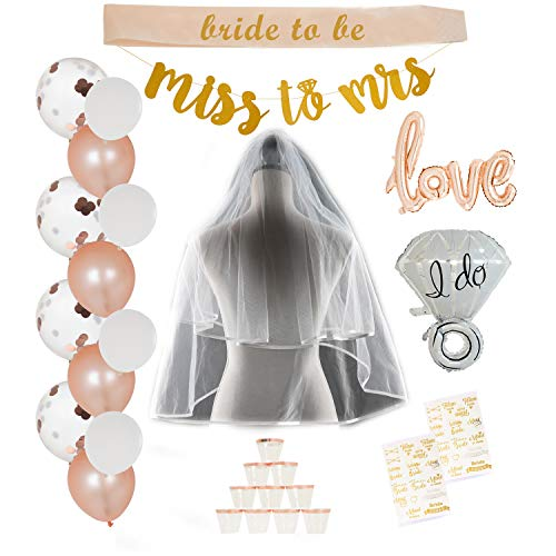 ArtyKreit Bachelorette Party Decorations Kit | Party Supplies for The Perfect Rose Gold Themed Bridal Shower | Set Includes Banner, Balloons, Cups, Tattoos Plus a Sash & Veil for The Bride to Be