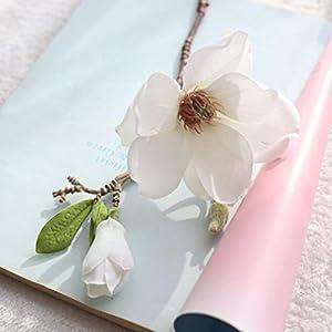 Inverlee Artificial Flowers Magnolia Fake Flowers Leaf Floral Wedding Bridal Bouquet DIY Home Garden Decor 2