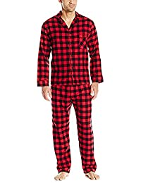 Men's Flannel Pajama Set-Red Buffalo Plaid