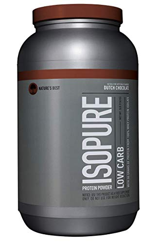 Isopure Low Carb Protein Powder, 100% Whey Protein Isolate, Flavor: Dutch Chocolate, 3 Pounds (Packaging May ()