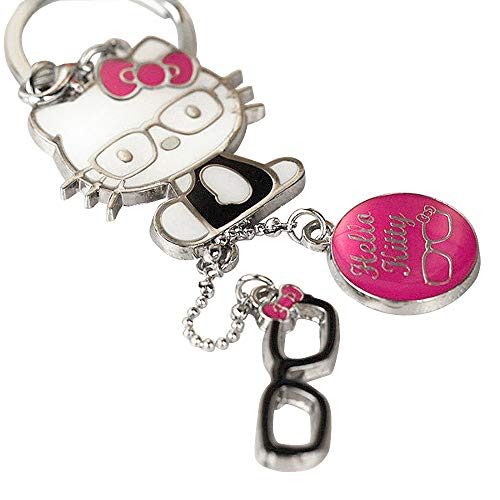 M Z115-B Cute Adorable Hot Pink Style Hello Kitty Glasses Charms Keychain Key Ring