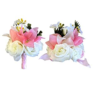 Abbie Home Wedding Wrist Corsage Boutonniere Set Brooch Pin for Suit Party Prom Hand Flower Décor (Pink) 93