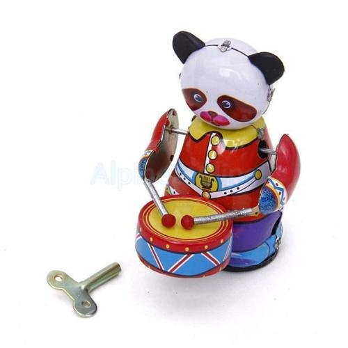 Shalleen Vintage Collectible Gift Retro Style Wind Up Panda Drummer Tin Toy w/ Key