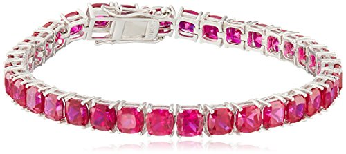 925 Silver Cushion Bracelet - Created Ruby Cushion Cut Tennis Bracelet in Sterling Silver (5mm)