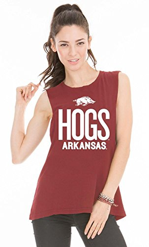 Official NCAA University of Arkansas Razorbacks GO BIG RED HOGS! Arkansas Fight! Women's Muscle T-Shirt Arkansas Hogs