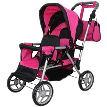 Mommy & Me Twin Doll Pram Back to Back adjustable handle with FREE Carriage bag 9386