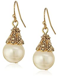 1928 Jewelry Gold-Tone Simulated Pearl Drop Earrings