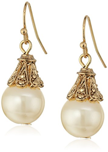 1928 Jewelry Gold-Tone Simulated Pearl Drop Earrings ()