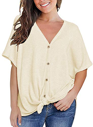 MOUEEY Womens Short Sleeve Casual V Neck Loose Tops Blouse T-Shirt with Buttons Beige XL