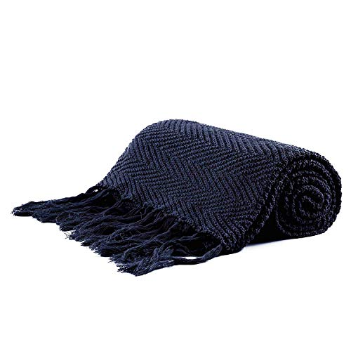 Longhui bedding Fringe Knit Cotton Throw Blanket, 50 x 63 Inch Decorative Knitted Cover with 6 Inches Tassels, Bonus Laundry Bag - 3.12lb Weight, Couch Blankets, Navy Blue (And Throws Blankets Blue Navy)