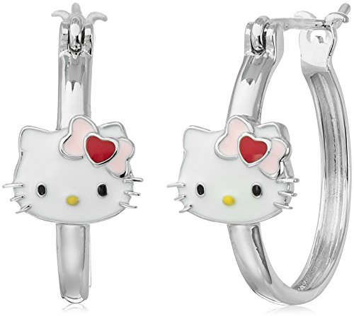 Hello Kitty Sterling Silver Heart Bow Swarovski Crystal S...