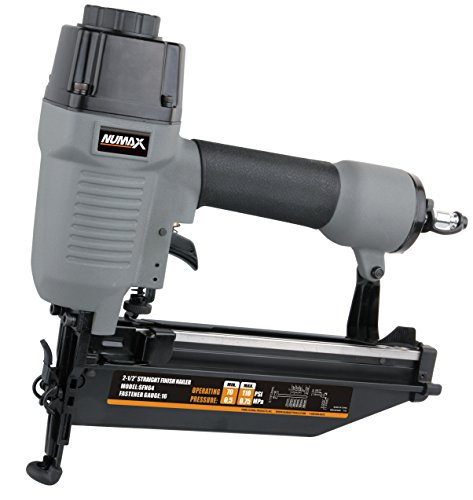 NuMax SFN64 Straight Finish Nailer 16 Gauge Ergonomic & Lightweight Pneumatic Nail Gun with Depth Adjust & No-Mar - Molding Pine Crown