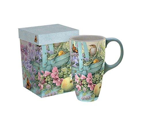 "LANG - 18 oz. Ceramic Latte Mug -""Basket of Flowers"" - Artwork by Marjolein Bastin"