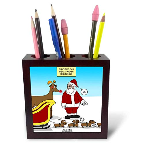 3dRose Rich Diesslins Funny Out to Lunch Cartoons - Rudolphs Bad Idea - a Dachshund - Wiener Dog - to Pull Santas Sleigh - 5 inch Tile Pen Holder (ph_306025_1)