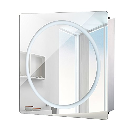 HomCom LED Ring Sliding Bathroom Mirror / Medicine Wall Cabinet (24″ x 24″)