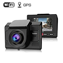 Dash Cam with GPS and WiFi-TOGUARD Full HD 1080P Car Driving Camera Video Recorder with 170 Degrees Wide Angle Sony Sensor 2.45 inch LCD G Sensor Loop Record and ParkingMonitor