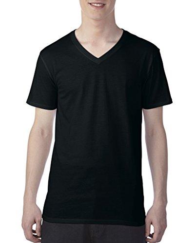 Anvil 3.2 oz. Featherweight Short-Sleeve V-Neck T-Shirt. 352 Black M