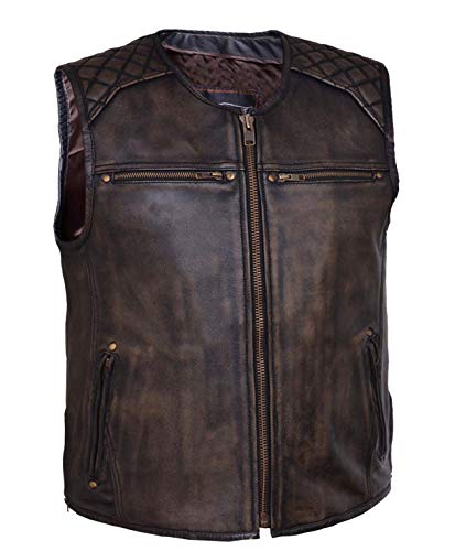 Mens Motorcycle Retro Brown Collarless Closeout price Leather Vest kidney padding back protector (M) ()