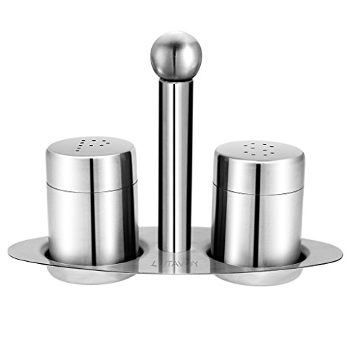 (LUTAVOY Restaurant Salt and Pepper Shakers with Matching Stand Mini Stainless Steel Salt Pepper Shakers Set, Dining Table Set Set of 3 Cruet Set LK01)