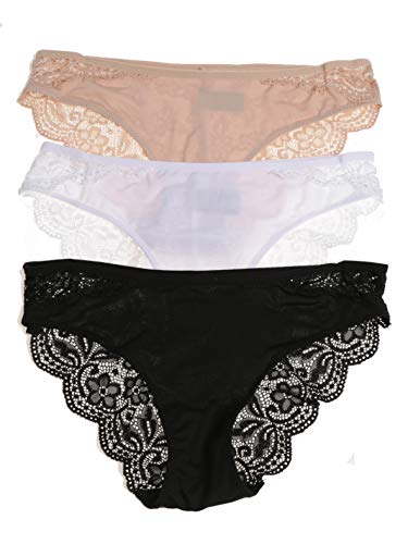 Rene Rofe New Wave Bikinis - 3 Pack, Black/White/Sandcastle, Small