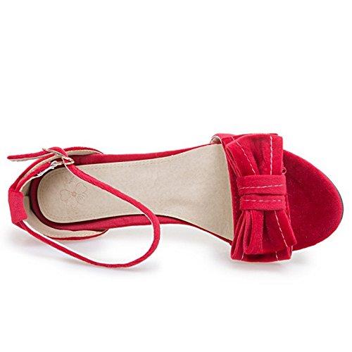 Rouge Moyens Sandales Bloc Cheville Sangle Femme Talons Classiques TAOFFEN De wIOzq4R8