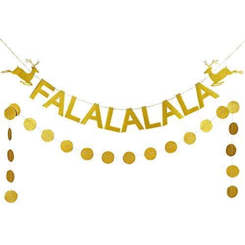 Gold Glittery FALALALALA Christmas Deer Banner and Gold Glittery Circle Dots Garland (25pcs circlr dots)- Christmas Party Winter Wonderland Holiday Decorations