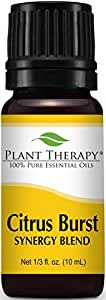 Plant Therapy Citrus Burst Synergy Essential Oil Blend. 100% Pure, Undiluted, Therapeutic Grade. Blend of: Grapefruit, Lemon, Lime, Litsea, Mandarin and Orange. 10 ml (1/3 oz).