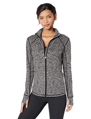 Amazon Essentials Women's Brushed Tech Stretch Full-Zip Jacket, Dark Grey Space dye, X-Large ()