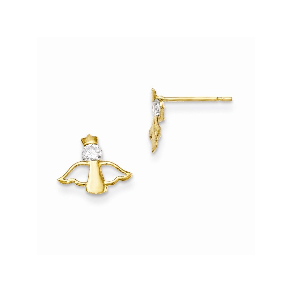 14k Yellow Gold Madi K CZ Childrens Angel Post Earrings