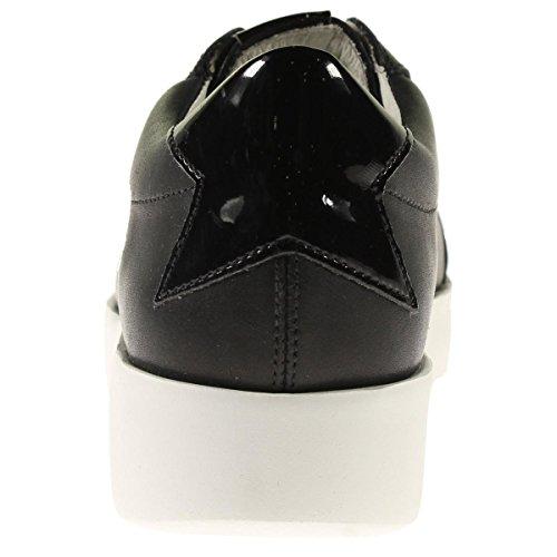 Steve Madden Kvinna Baleigh Läder Plattform Mode Sneakers Svart Läder