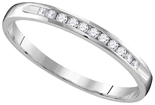 10k White Gold Womens Natural Round Diamond Wedding Anniversary Bridal Band Ring (.10 cttw.) (I1-I2) 0.10 Cttw Natural