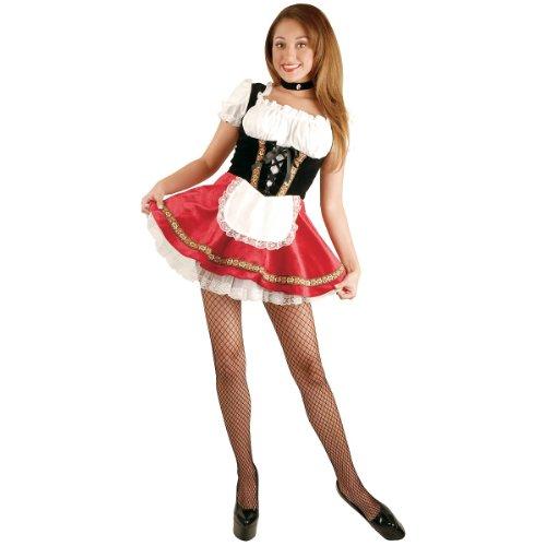 Charades Women's Deluxe Beer Garden Girl Costume Dress with Petticoat, Black/red, Medium -