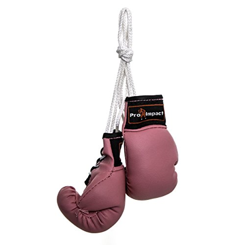 Pro Impact Mini Boxing Gloves - Miniature Punching Gloves - Hanging Decoration or Souvenir Display - for Home & Car Use - 1 Pair (Pink)