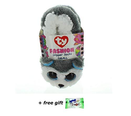 (TY Beanie Baby Boos Fashion Slipper Sock Slush The Huskey Dog (Small 11/13) - Blue Funchop with)