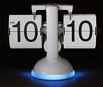 KABB Reloj Flip Retro de Números, Relojes de Sobremesa Modernos, Retro estilo exquisito y artístico (Reloj con lámpara, Blanco y azul): Amazon.es: Hogar