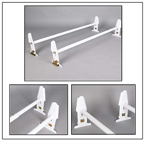 [Fengo] 2 PCs of Heavy Duty Steel Van Roof Ladder Rack Bars for Chevy Express GMC Savana 1500 2500 3500 4500 Ford E150 E250 E350 E450-500LBS Load Capacity + Adjustable Width 47