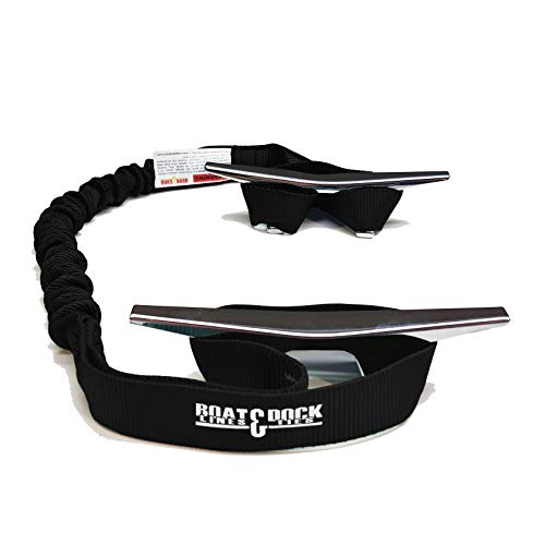 Hook & Cord Boat Dock Tie Bungee, Made in USA, 2 Loop Pack of 2, 30 inch Long (Black, 30 Inch)