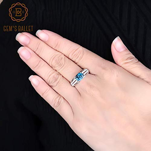 (925 Sterling Silver Classic Rings | Oval Natural London Blue Topaz Gemstone Ring for Women | Fine Jewelry (1.57ct))