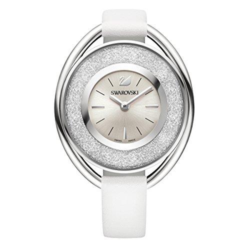 Bling Swarovski Watch - Ladies' Swarovski Crystal Crystalline Oval White Leather Watch 5158548
