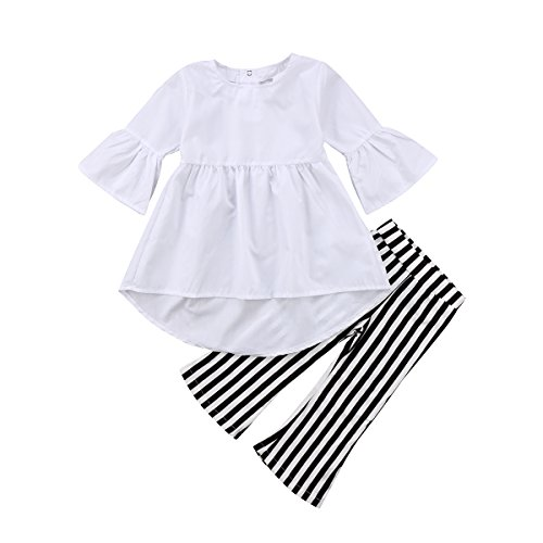 Toddler Baby Girl Clothes Ruffles Tunic Dress White Tops Striped Pants Outfits 2 Pcs Clothing Set (White, 12-18 Months) ()
