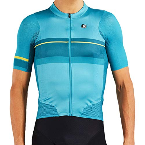 Giordana NX-G Air Road Bike Jersey - Men's Teal Blue/Marigold, L
