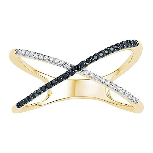 Diamond Crossover Gold - Size - 8 - Solid 10k Yellow Gold Round Black and White Diamond Channel Set Curved Crossover Wedding Band OR Fashion Ring (1/6 cttw)