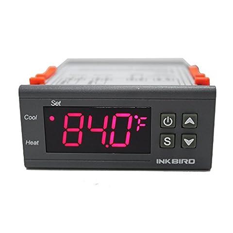 Inkbird AC 12V Dual Stage All-Purpose Home Brew Fermentation Hatch Pet Aquarium 3D Printer Heating Cooling Temperature Controller+ Sensor 2 Relay Output Thermostat Itc-1000
