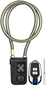 Bike Lock, Wireless Remote Alarm Lock, Portable Bicycle Alarm Safety Electric Chain Lock for Bicycle/Motorcycl