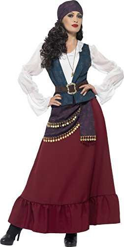 Smiffy's Women's Deluxe Pirate Buccaneer Beauty Costume, Dress, Sash, Bandana & Necklace, Pirate, Serious Fun, Plus Size 18-20,