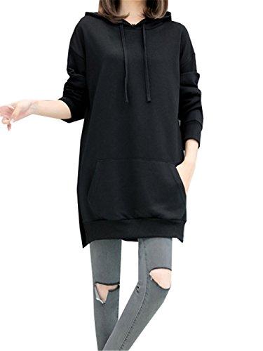 Cappuccio e Tunica Lunghe Haroty Sweatshirt Cotone Pullover Ragazza Autunno Nero Donna Abito Casual Manica Felpa Inverno Lunga Oversize Unicolor con x44qS8Iw6
